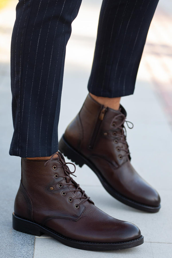 Men's Lace-up Ginger Leather Boots