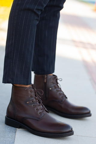 Image of Men's Lace-up Ginger Leather Boots