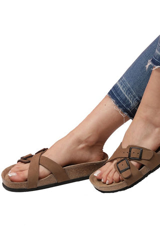 Image of Women's Anatomical Natural Footbed Double Band Sand Beige Leather Slippers