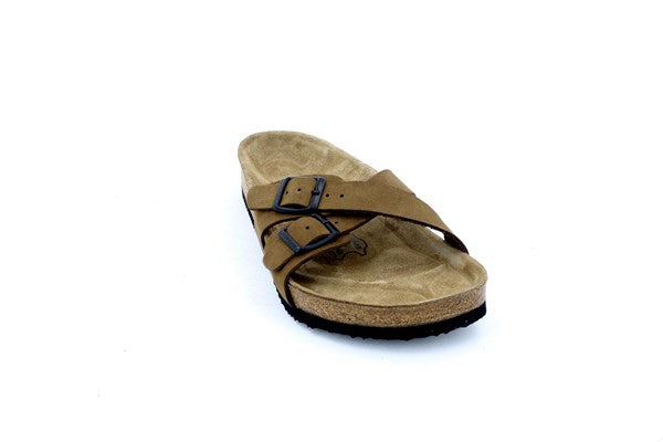 Women's Anatomical Natural Footbed Double Band Sand Beige Leather Slippers