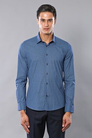 Men's Long Sleeves Patterned Blue Shirt