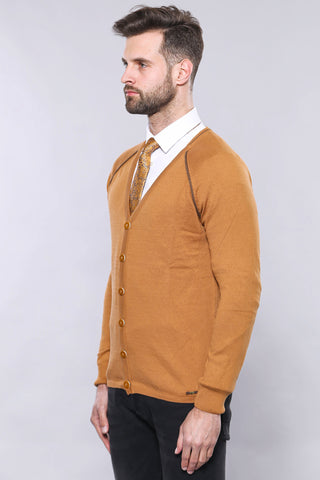 Image of Men's Button Ginger Cotton Cardigan
