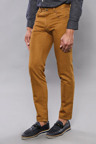 Image of Men's Pocket Ginger Cotton Slim Fit Pants