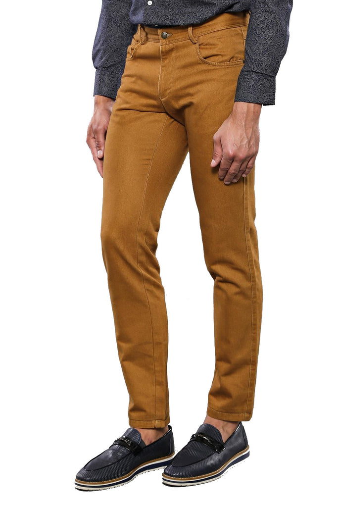 Men's Pocket Ginger Cotton Slim Fit Pants