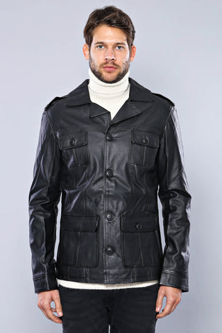 Men's Button Black Artificial Leather Jacket