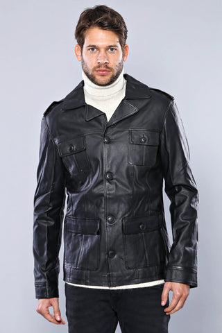 Image of Men's Button Black Artificial Leather Jacket