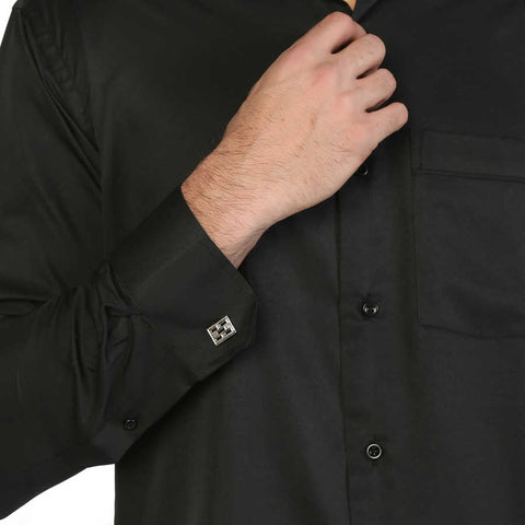 Image of Men's Oversize Cufflinks Buttoned Classic Black Micro Fabric Shirt