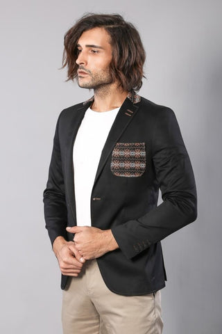 Image of Men's Black Cotton Slim Fit Jacket