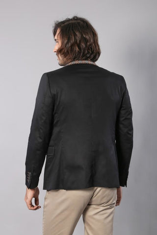 Men's Black Cotton Slim Fit Jacket
