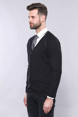 Image of Men's Black Cotton Cardigan