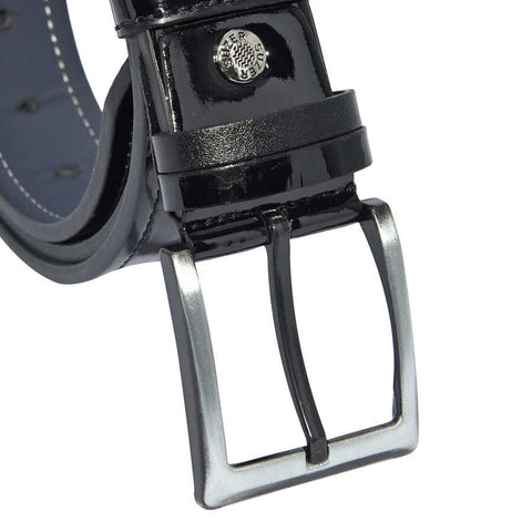 Image of Men's Stitched Black Patent Artificial Leather Sport Belt- 4 cm