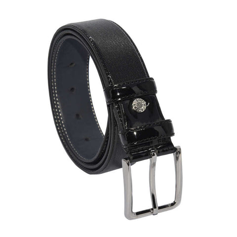 Men's Patterned Black Patent Artificial Leather Classic Belt- 3.5 cm