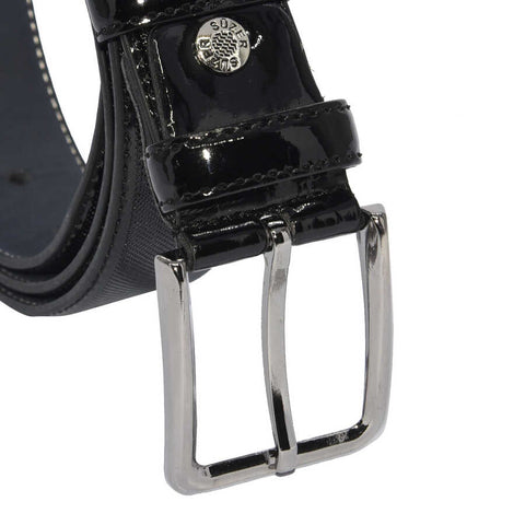 Image of Men's Patterned Black Patent Artificial Leather Classic Belt- 3.5 cm