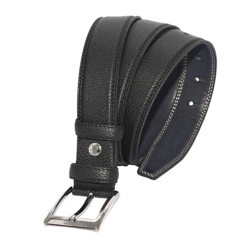 Men's Stitched Black Artificial Leather Classic Belt- 3.5 cm