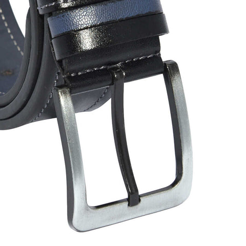 Men's Stitched Black Artificial Leather Sport Belt- 4 cm