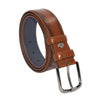 Men's Plain Ginger Artificial Leather Classic Belt- 3.5 cm