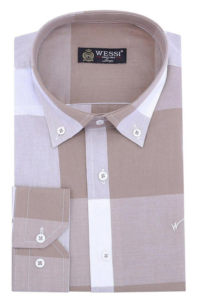 Men's Plaid Beige Slim Fit Shirt