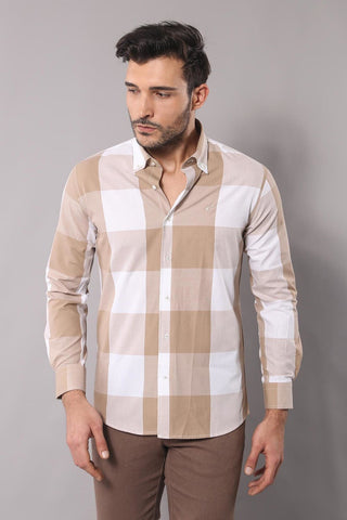 Image of Men's Plaid Beige Slim Fit Shirt