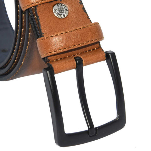 Image of Men's Stitched Ginger Artificial Leather Classic Belt- 4 cm