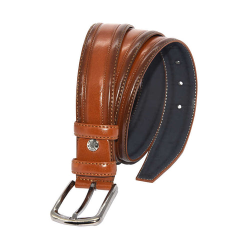 Men's Patterned Ginger Artificial Leather Classic Belt- 3.5 cm