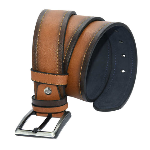 Image of Men's Stitched Ginger Artificial Leather Sport Belt- 4.5 cm