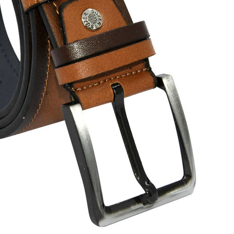 Men's Stitched Ginger Artificial Leather Sport Belt- 4.5 cm