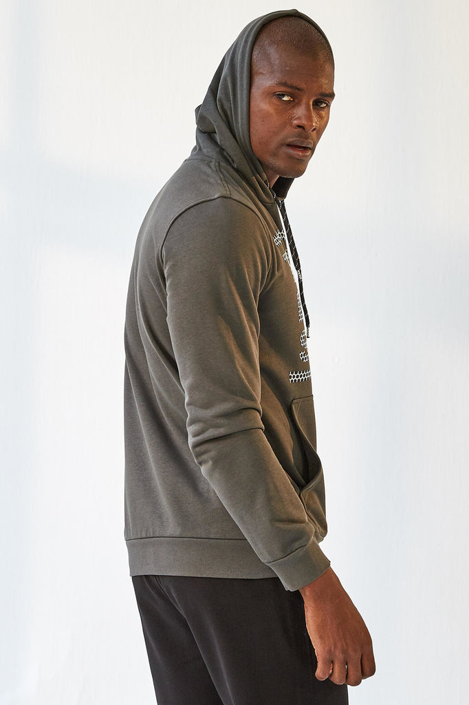 Men's Hooded Printed Khaki Sweatshirt