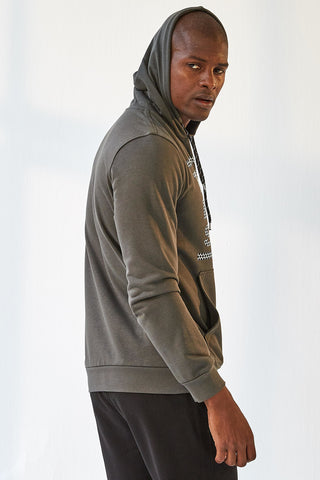 Image of Men's Hooded Printed Khaki Sweatshirt