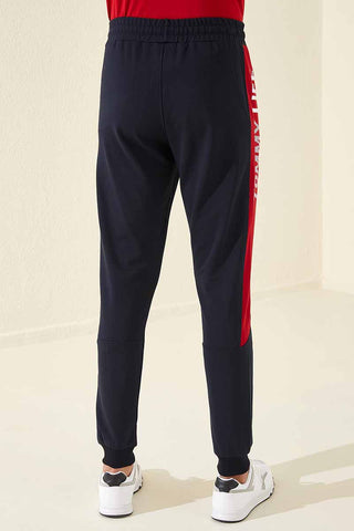 Image of Men's Printed Navy Blue Sweatpants