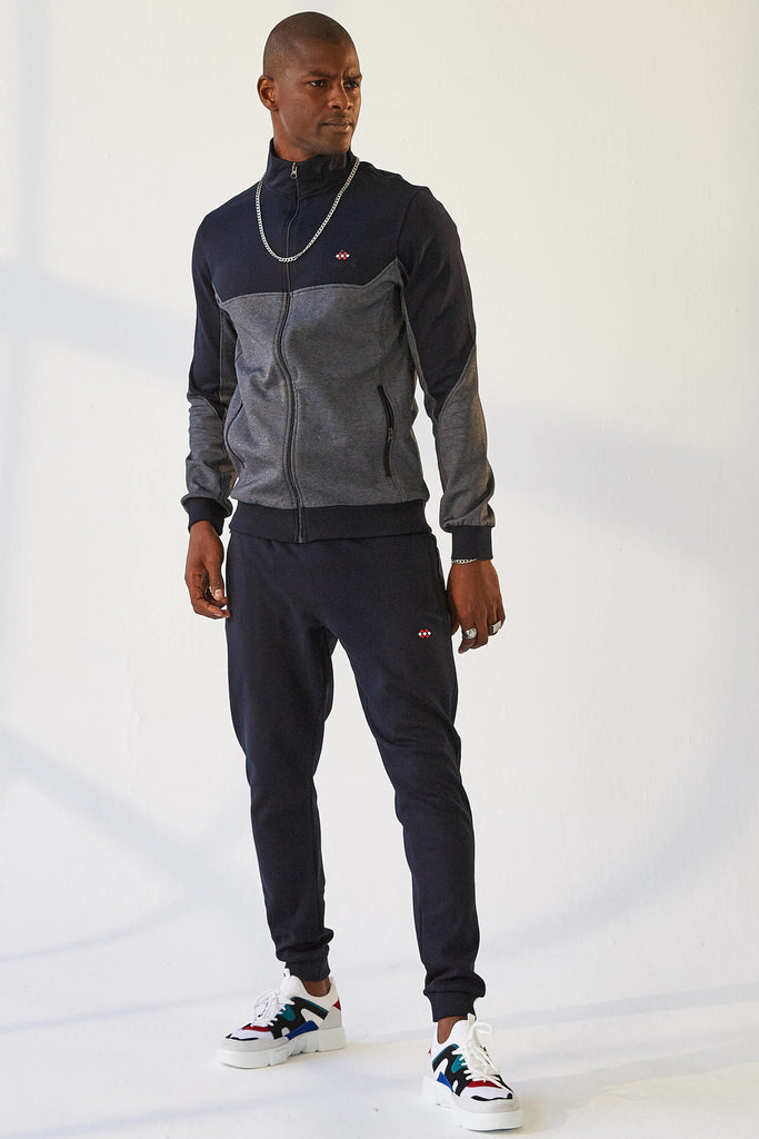 Men's Stand-up Collar Navy Blue Sweat Suit