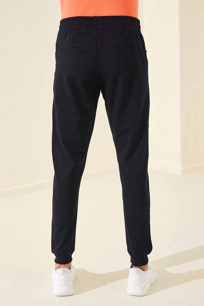 Men's Front Print Navy Blue Sweatpants