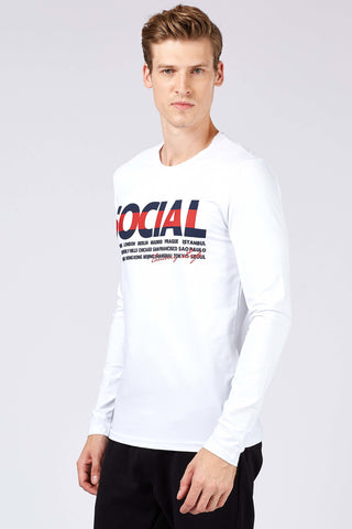 Men's Printed White Sweatshirt