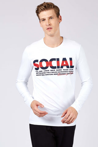 Image of Men's Printed White Sweatshirt