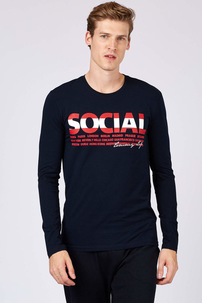 Men's Printed Navy Blue Sweatshirt
