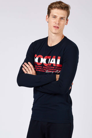Image of Men's Printed Navy Blue Sweatshirt