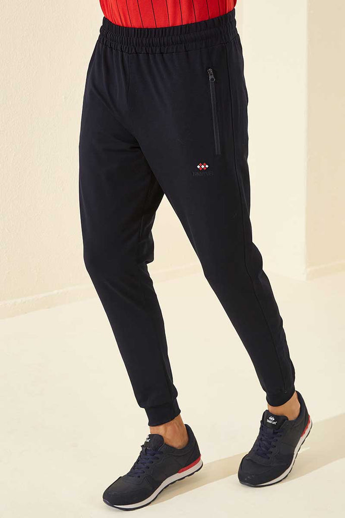 Men's Zipped Pocket Navy Blue Sweatpants