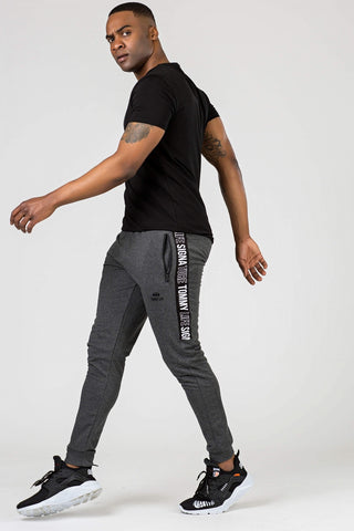 Image of Men's Printed Melange Anthracite Sweatpants