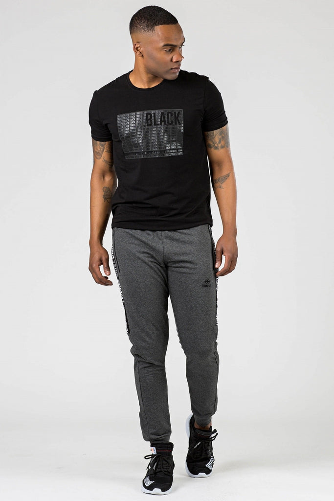 Men's Printed Melange Anthracite Sweatpants
