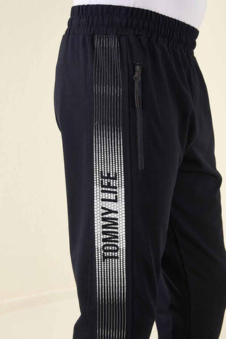 Image of Men's Side Striped Navy Blue Sweatpants