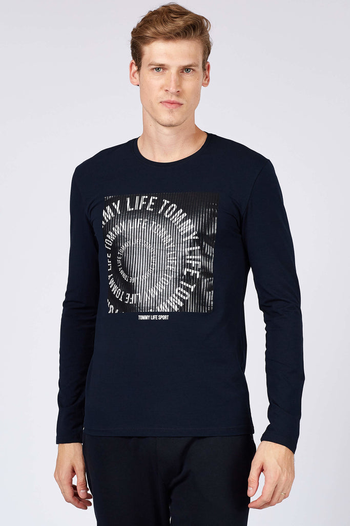 Men's Text Print Navy Blue Sweatshirt
