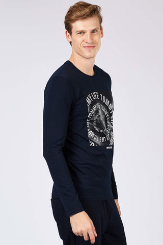Image of Men's Text Print Navy Blue Sweatshirt