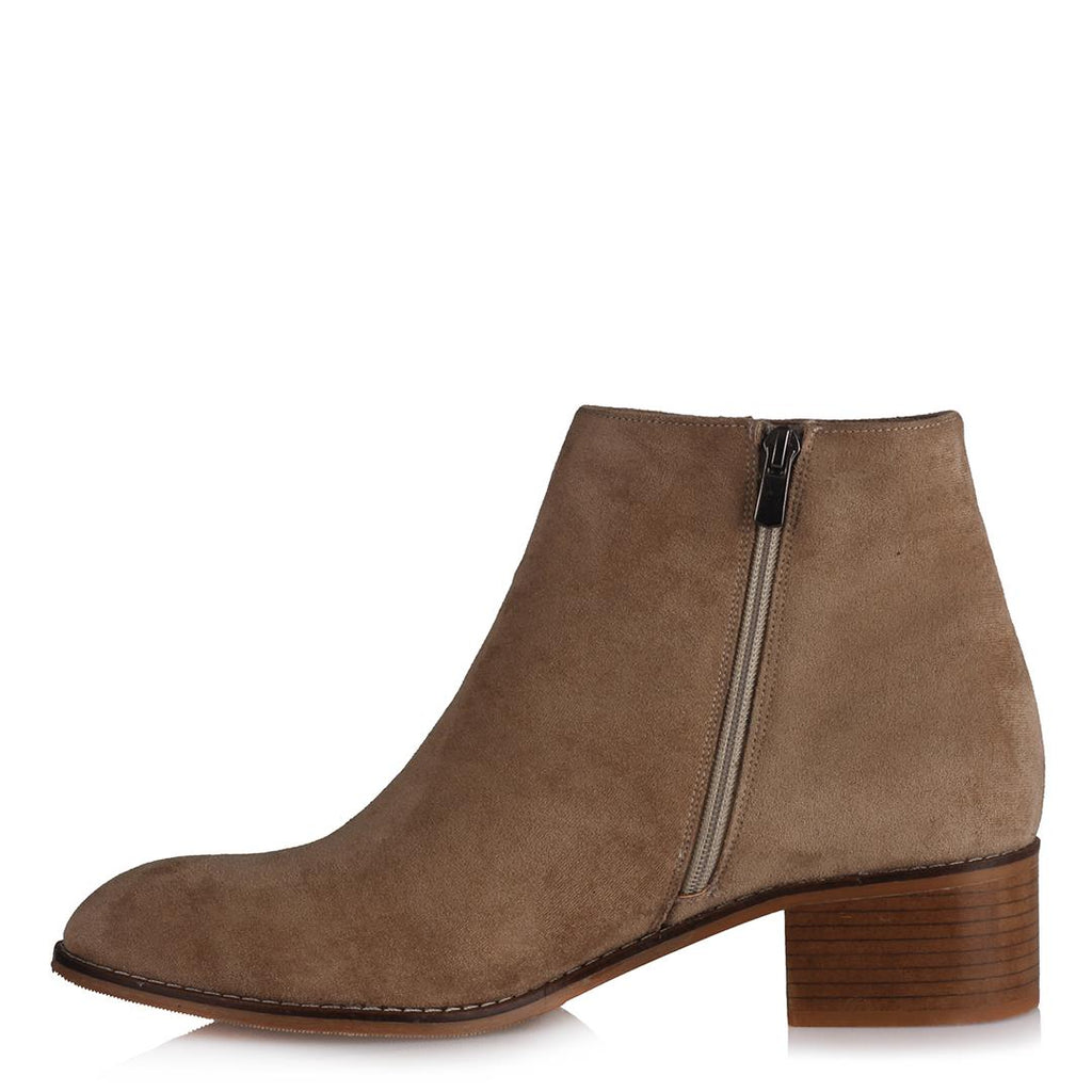 Women's Beige Suede Low Heeled Boots