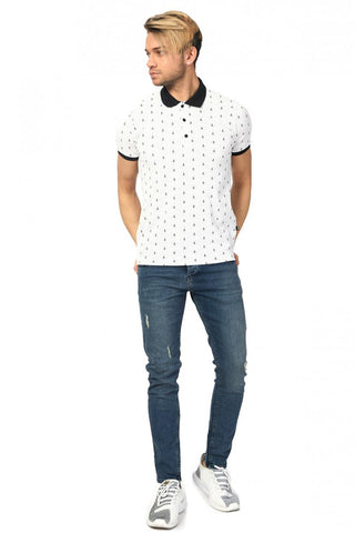 Image of Men's Printed Basic White Lycra T-shirt