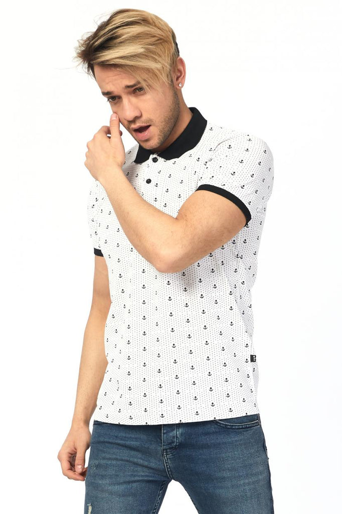 Men's Printed Basic White Lycra T-shirt