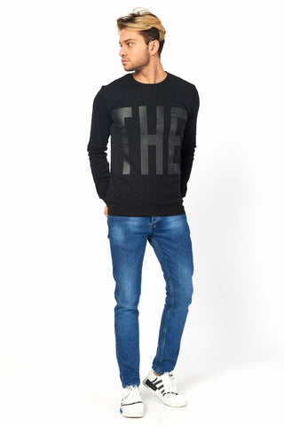 Image of Men's Collarless Printed Black Sweatshirt
