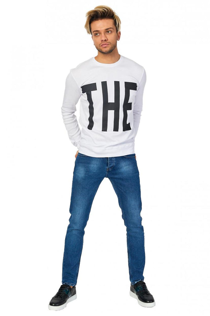 Men's Collarless Printed Black Sweatshirt