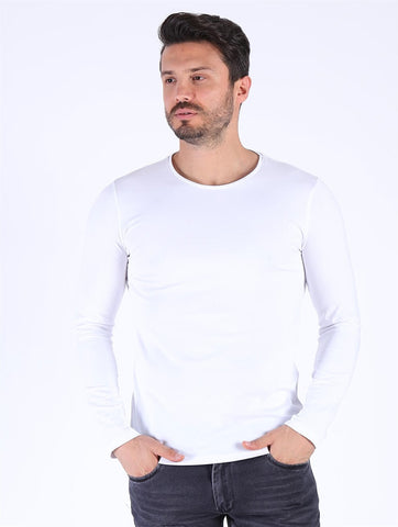 Image of Men's Long Sleeves White T-shirt