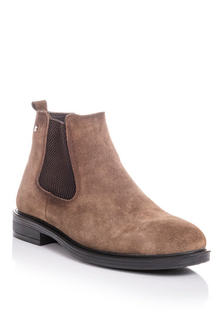 Men's Leather Detail Mink Suede Boots