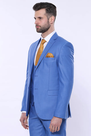 Men's Blue Slim Fit Formal Suit Set