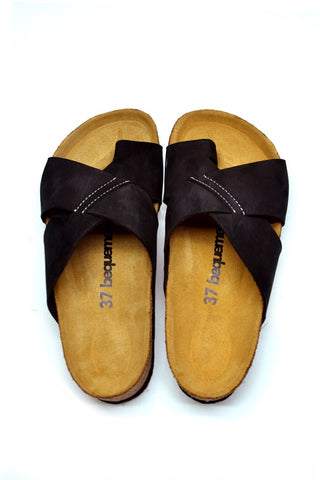 Image of Women's Anatomical Natural Footbed Black Leather Slippers